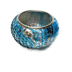 Blue and silver fish scale statement bracelet